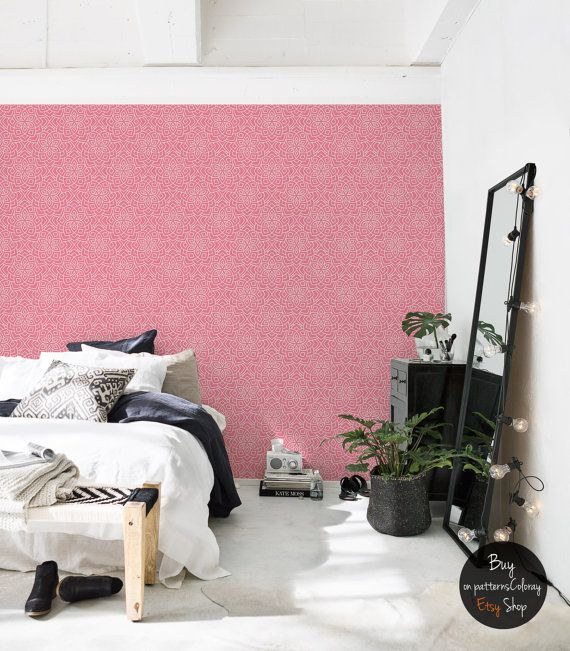 Abstract Floral Pattern, Geometric Wallpaper, Pink, Self Adhesive,  Reusable, Removable Wall Part 53