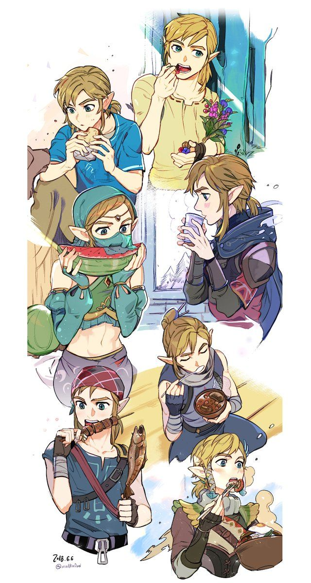 Link In Various Outfits Eating Various Foods Legend Of Zelda