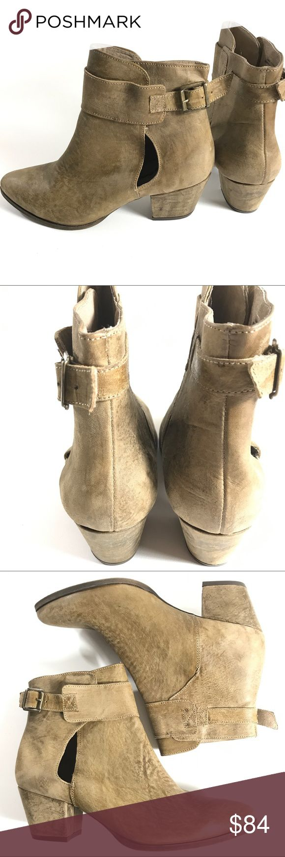 NEW FREE PEOPLE BROWN LEATHER ANKLE BOOTS 9.5 US NEARLY NEW FREE PEOPLE BROWN DISTRESSED LEATHER ANKLE BOOTS 9.5 EUR 40   new without original box Free People Shoes Ankle Boots & Booties