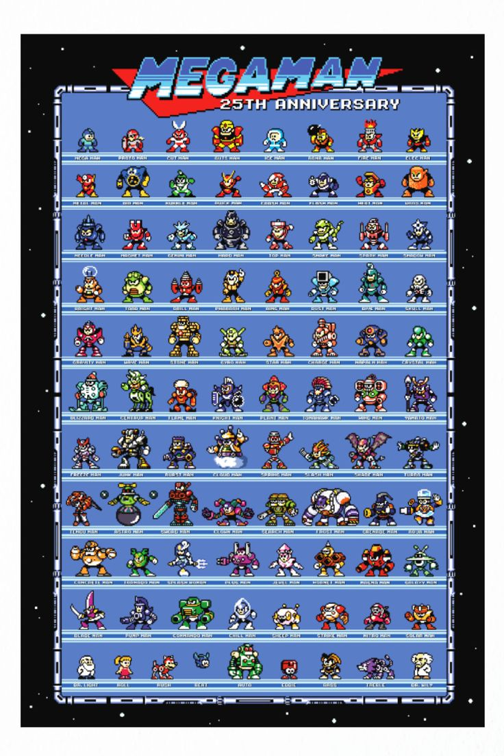 What better way to remember all Mega Man Characters than with this 8-Bit 25th Anniversary Mega Man Poster.