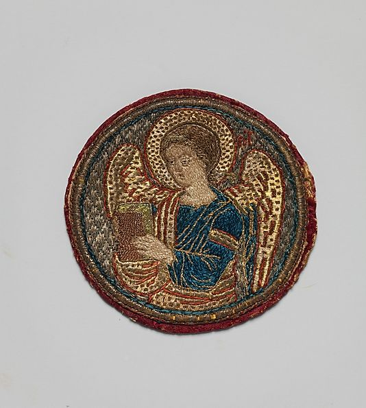 Medallion, Embroidered 16th–17th century Byzantine Silk and silver-gilt threads Diameter: 3 3/8 in.