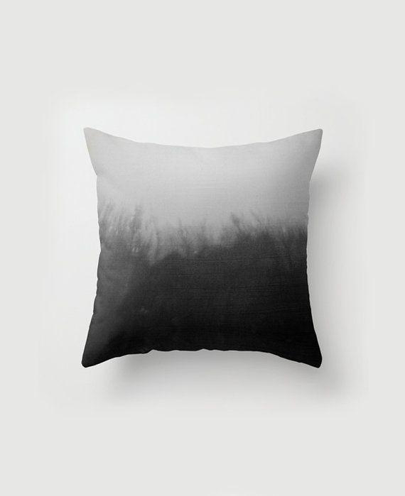 Throw Pillow case black & white throw pillow artistic pillow cover gray pillow cover pillowcase dye ombre minimalistic pillow