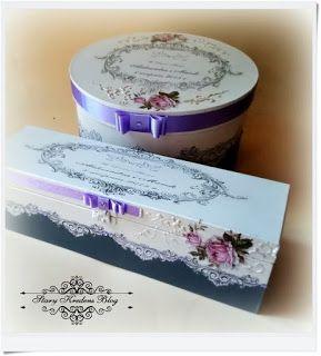 W tonacji lila róż - pudełko na prezenty ślubne oraz skrzynka na wino - Decoupage.