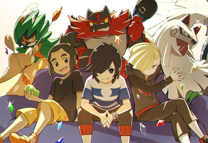 Bottom: Hau, Sun, and Gladion, Top: Decidueye, Incineroar, and Silvally