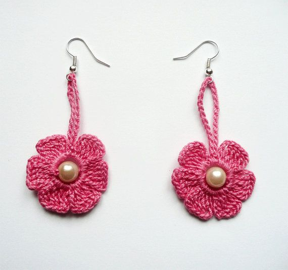 Honeysuckle Pink Crochet Earrings