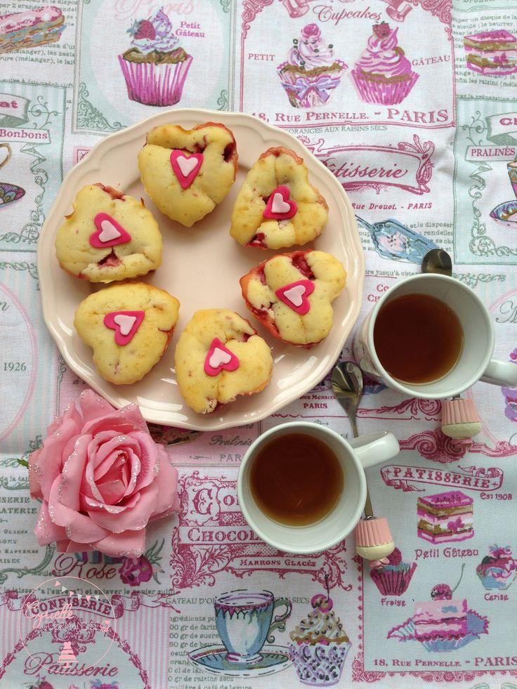 Muffins Cœur aux Fraises parfumés au citron   Cyrielle Gourmandise