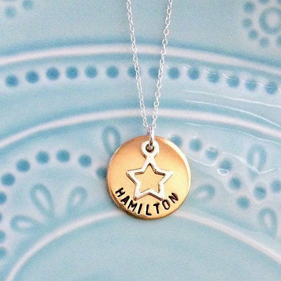 Hamilton Musical Necklace, Playbill and Soundtrack Album Cover, Broadway, Sterling Silver, Gold, Handstamped, Gift for Fan, Gift for Her