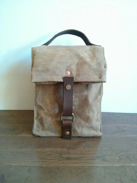Field Tan Waxed Canvas, Cordura and Leather Insulated Lunch Bag on Etsy, $65.00