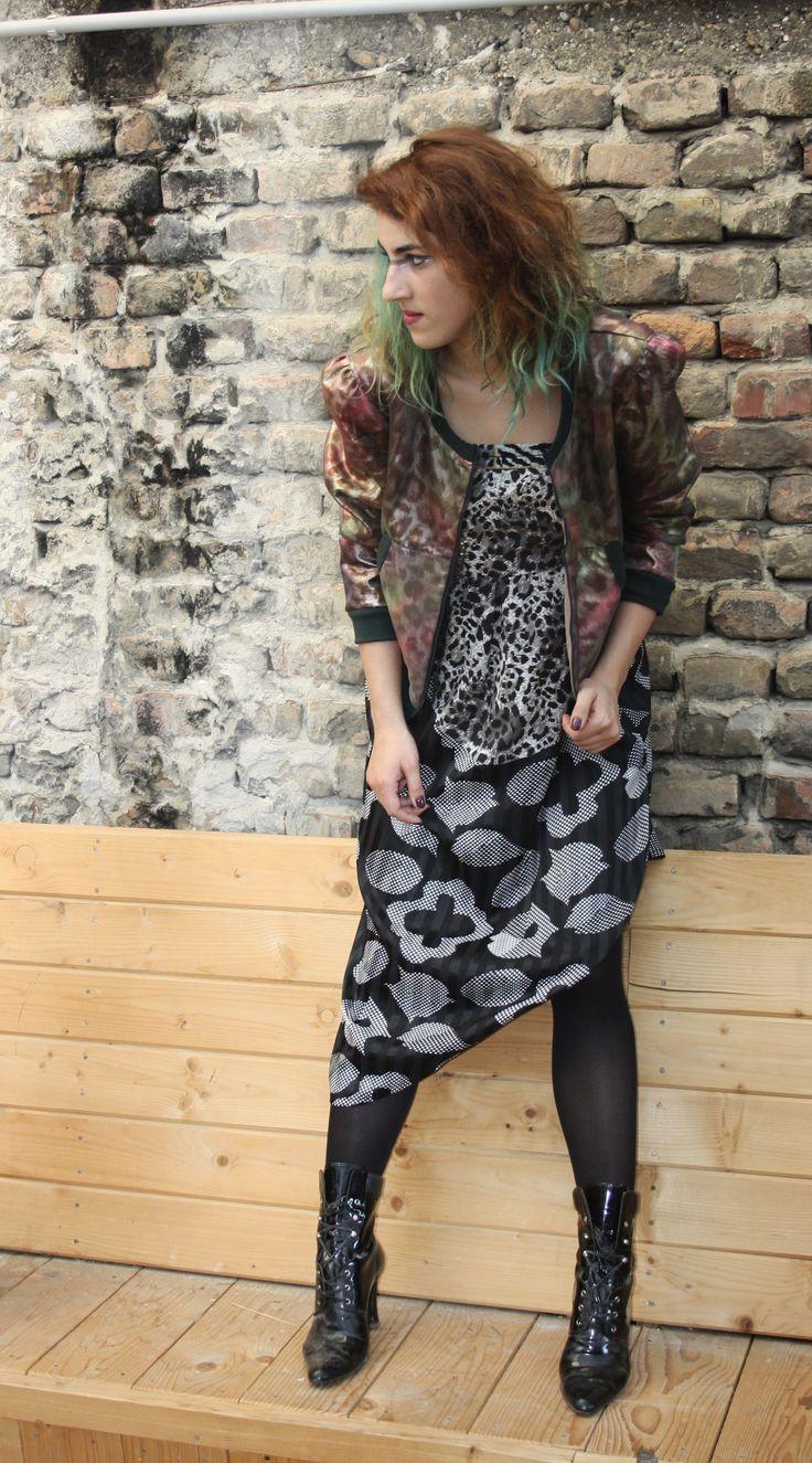 upcycling dress and shiny jacket