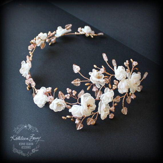 R2300 Rose oro guirnalda de la flor boda nupcial pelo accesorio accesorios - diadema de boda - pelo - corona de novia flor oro color de rosa - marfil