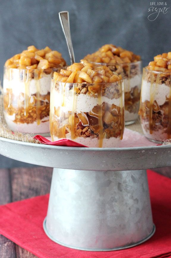 Caramel Apple Trifles - layers of granola, cinnamon whipped cream, cinnamon apples and caramel!