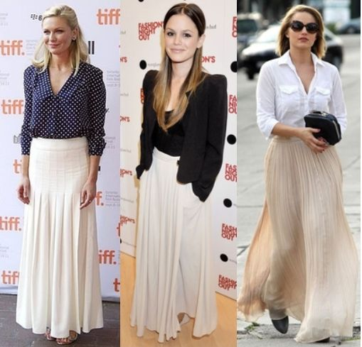 Just bought a white maxi skirt - these are good looks for work.