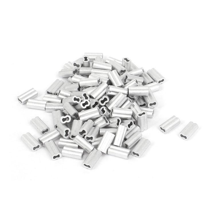 UXCELL 1 Mm Draad Touw Aluminium Mouwen Clip Fittings Loop Mouwen Kabel Crimps 100 Stks