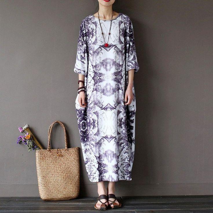 Women summer  printing cotton linen  dress