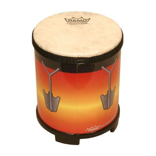 """Remo Fingerdrum, 5.5"""", Sunburst Graphics by Remo. $30.88. Sound Shapes. Origin Country: USA. Made by Remo.Remo Finger Drum, 5.5"""", Sunburst Graphic ( Item code FG-EXTL-SB) Finger drum made with the same materials that are used on Remo's professional instruments Finger Drums are durable versatile and a great way to reduce the stress of modern life. It goes anywhere and is played with just a tap of a finger. AcousticonT shell (manufactured from recycled hardwood ..."""