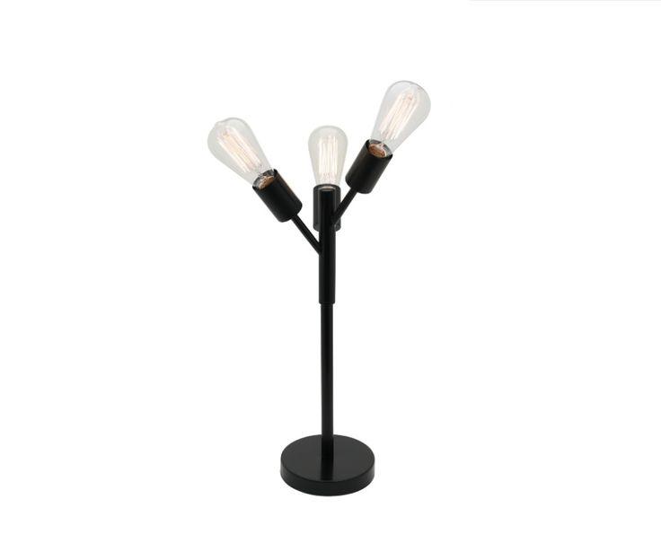 Pedro 3 Light Table Lamp Matt Black Mercator A41813, $99.00