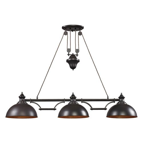 Elk Lighting Modern Farmhouse: Elk Lighting Farmhouse Oiled Bronze Pulley Adjustable