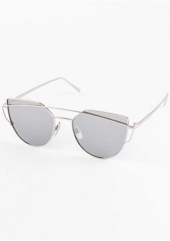 Inez Silver Cut Out Detail Sunglasses Missy Empire