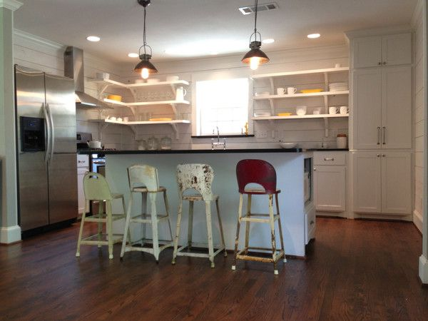 Open Shelving Experiment – The Magnolia Mom...loving the diff color / style bar stools!