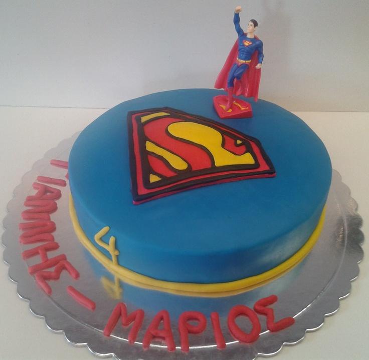 Superman Cake With Sugar Paste