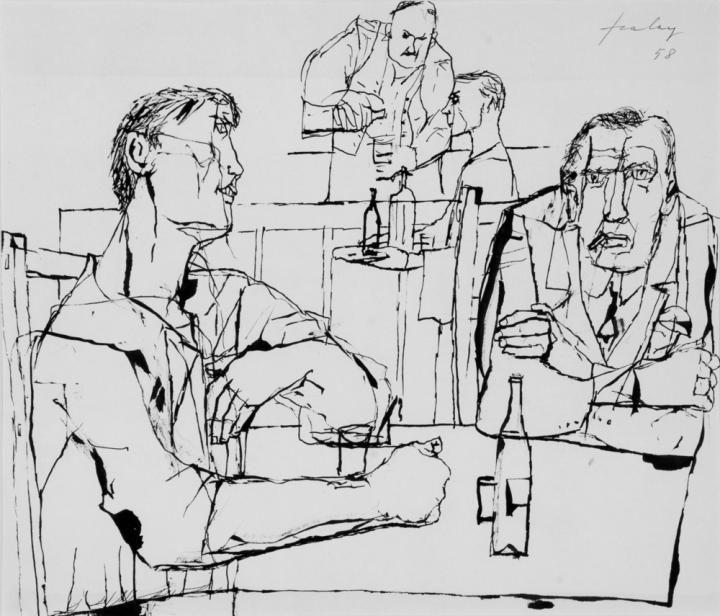 Szalay, Lajos, At the Bar, 1958, India ink , Paper