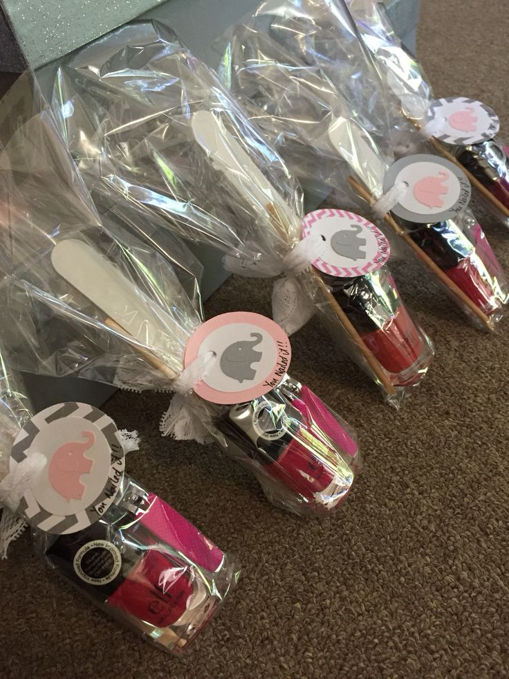 """Prizes for games! Included a nail file, cuticle stick, nail clippers & nail polish :)  Tags are from AlohaCakesbyAndrea on Etsy! & I wrote the """"you nailed it!"""" part on them."""