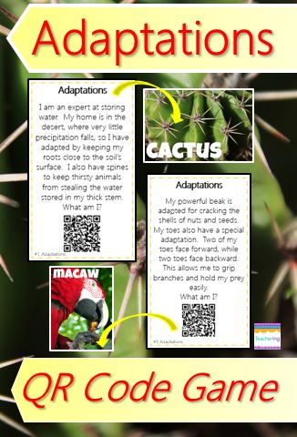 Fun, self-checking animal adaptations QR code game! The interactive center has students read clues, infer about the described behavioral and physical adaptations, record answers, and self check their response w/ the QR code. QR codes link to vivid, labeled photos (not clipart) examples of the adaptation or animal vocab word. Supports ELLs and visual learners! Vocab Included: Armadillo, bald eagle, cactus, camouflage, endangered, extinct, hibernation, hummingbird, macaw, mimicry #teachering