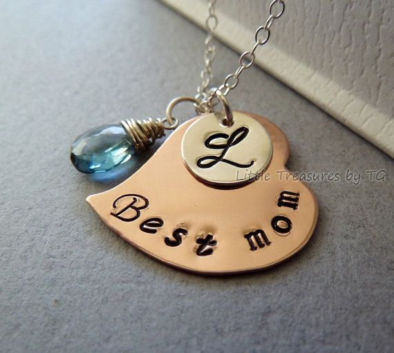 Best mom  Personalized Initial Stamped Copper and by TatianaG, $37.00