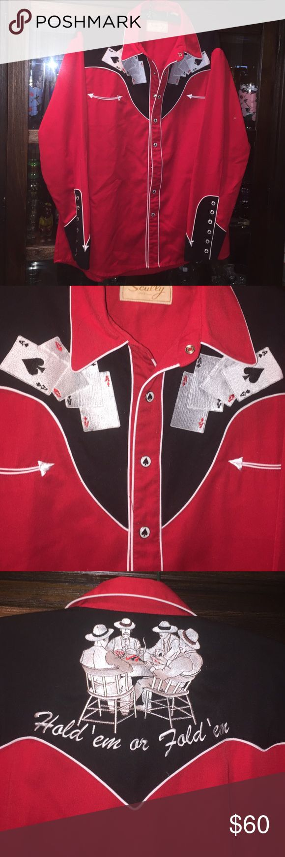 SCULLY Authentic western shirt🏌️♀️♠️ SCULLY authentic Western shirt perfect size medium with spades ♠️ on the buttons cooll♠️we have 3 Western shirts up take a look SCULLY Shirts Casual Button Down Shirts