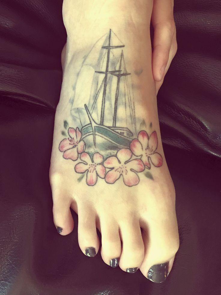 Foot tattoo sailboat Apple blossoms flowers sail tattoo