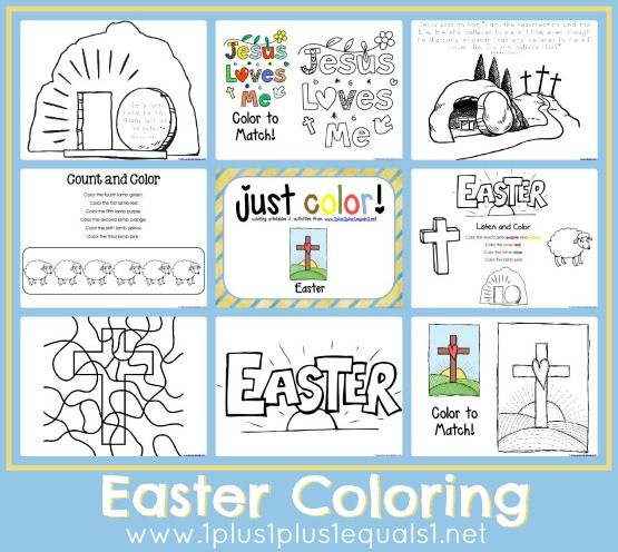 Free Easter Coloring Pages: Hop over to 1+1+1=1 to download these free Easter coloring pages.