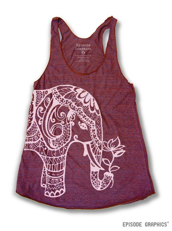 Ethnic Elephant print Tri - Blend American Apparel Tank Top