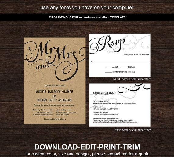 Diy Wedding Invitation Template Printable By