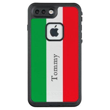 #white - #Custom flag of Italy green white red add name LifeProof® FRĒ® iPhone 7 Plus Case