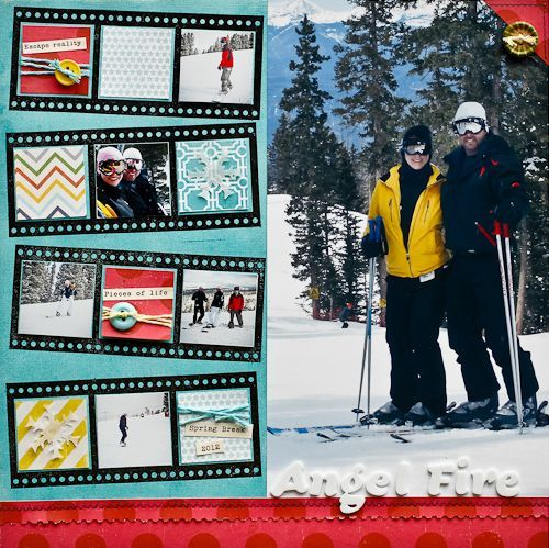 Love the filmstrips and the scrapbook paper in the slots along with pics. So fun!
