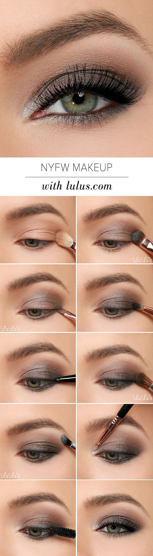 eye makeup tutorial uses gray, black, and metallic silver eye shadows for the perfect night out-ready smoky eye.