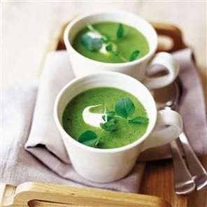 Pea, lettuce and tarragon soup. A refreshing soup recipe using plenty of greens to create a vibrant colour and memorable flavor. And ready in 25 minutes