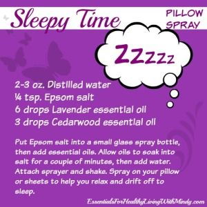 Sleepy Time Pillow Spray add 12 drops lavender and 6 drops cedarwood and 6 drops chamomile for shower melts