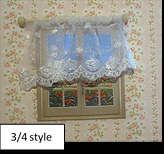 soft beige brown with 3/4 scalloped cream net & tieback ribbon set Fabulous curtain kits with EVERYTHING you need to make curtains, a pelmet with temp and lacy nets included for your dolls house enough fabric to make 2 pairs of curtains & pelmet (obviously depending on your window