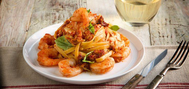 Shrimp Fettuccine Pasta and Fresh Mozzarella
