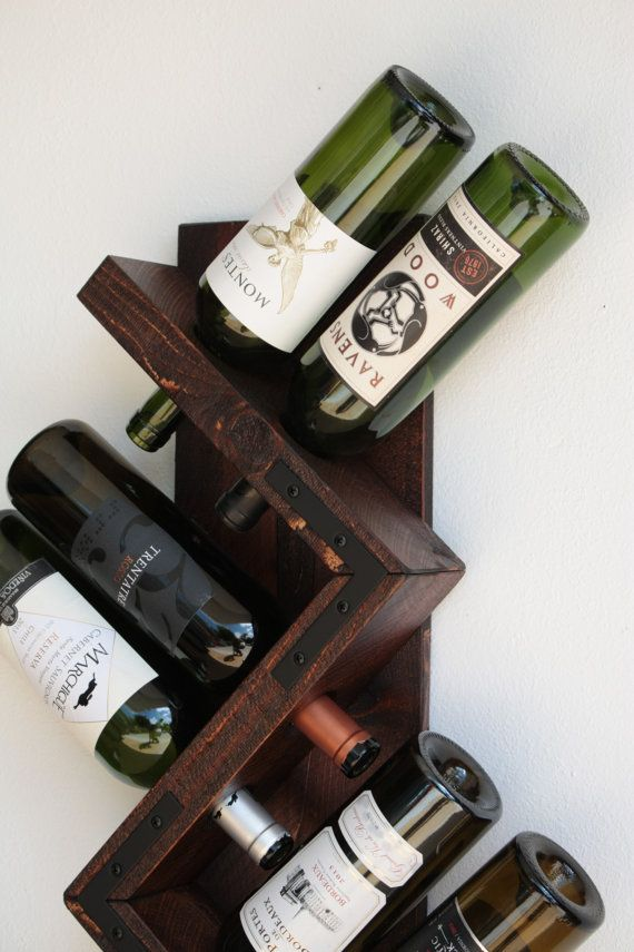 Pared de madera vino botella Rack-hecho a mano por AdliteCreations