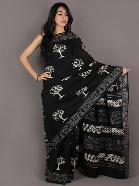 Black White Grey Hand Block Printed in Natural Colors Cotton Mul Saree - S03170918