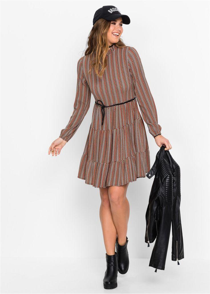 Kleid, Boho beige/rot bedruckt - RAINBOW jetzt im Online Shop von bonprix.de ab ? 39,99 bestellen. Kleid mit Volants und kleinem Stehkragen im Boho-Look - ...