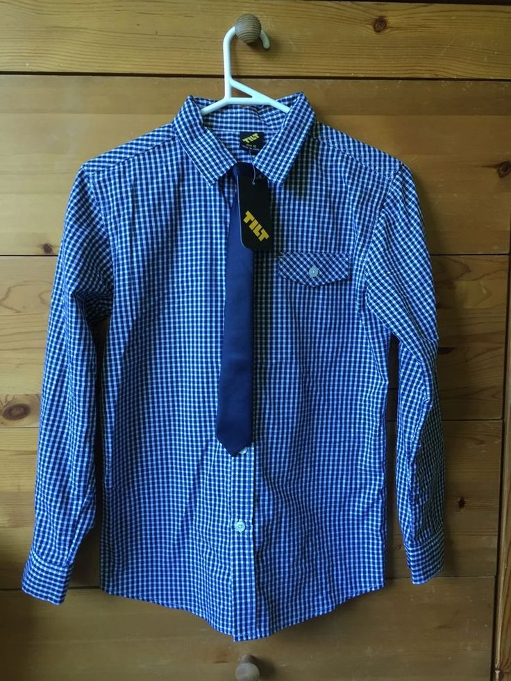 NEW Boys Size 12 Check Shirt and Neck Tie . Navy & White . Wedding . Formal
