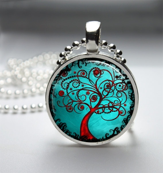 Round Glass Bezel Pendant Tree Pendant Tree Necklace With Silver Ball Chain (A3173). $8.00, via Etsy.