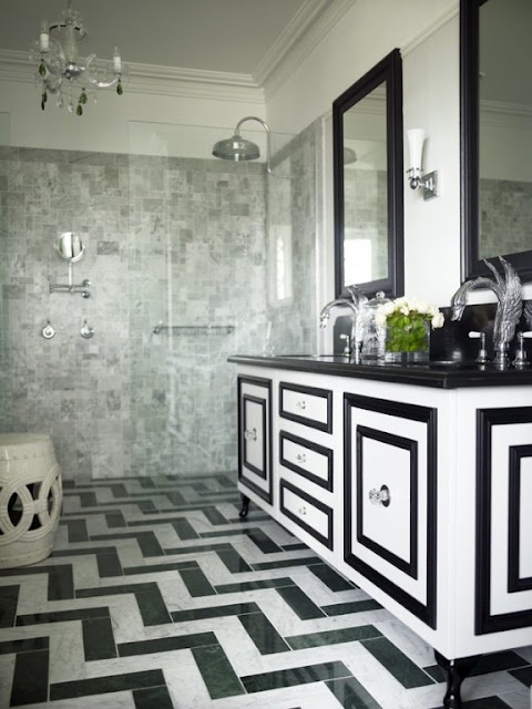 black and white bathroom (love the floor pattern)