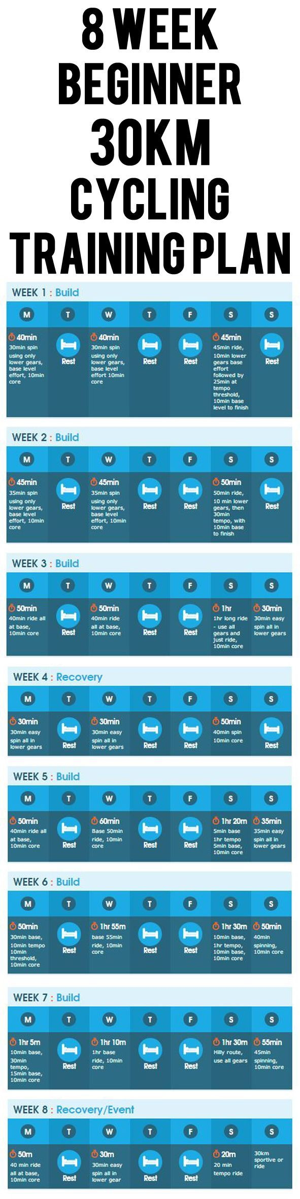 8 WEEK BEGINNER 30KM  CYCLING TRAINING PLAN. #cycling #bike #cycle #bicycle #trainingplan
