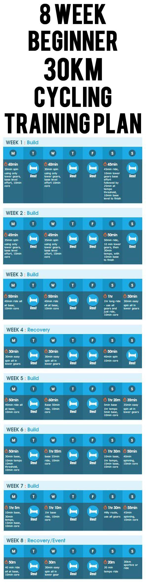 8 WEEK BEGINNER 30KM CYCLING TRAINING PLAN