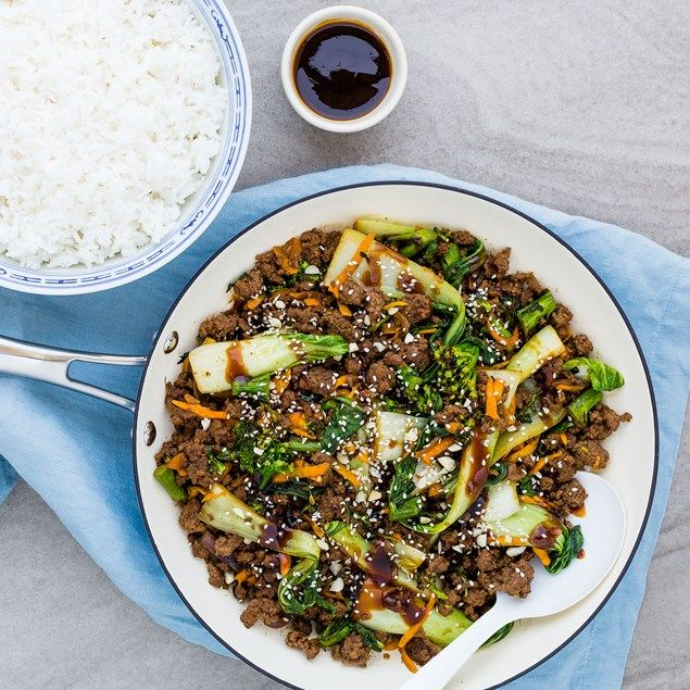 ASIAN BEEF AND BOK CHOY WITH RICE