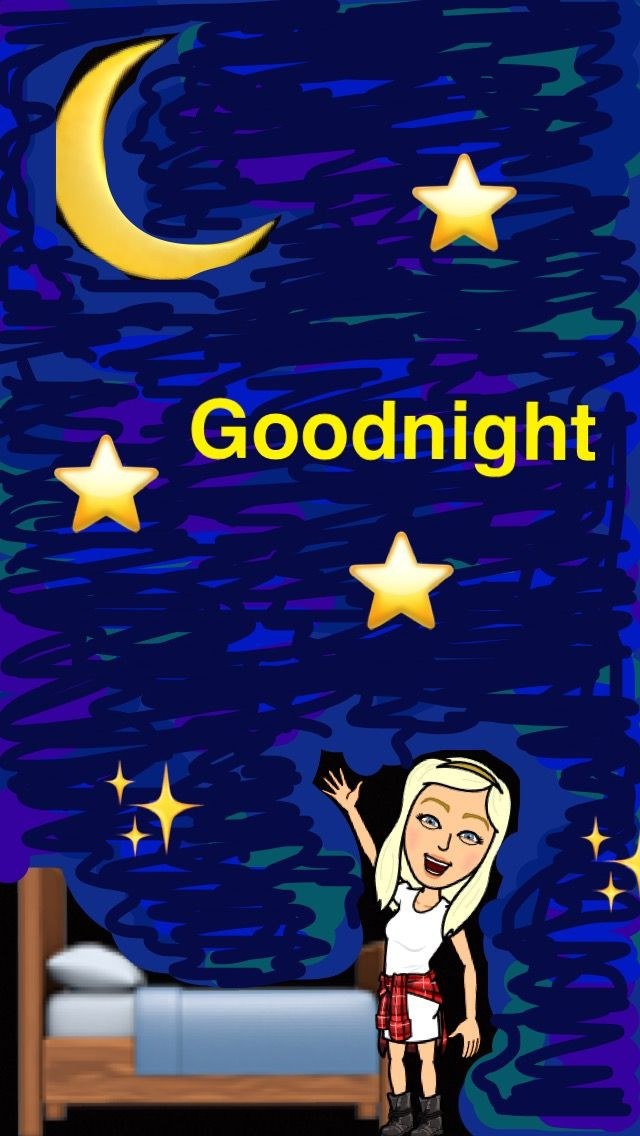 Goodnight snapchat bitmoji moon stars art